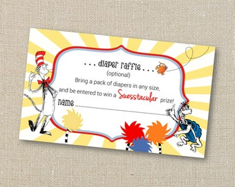 Dr Seuss Shower Book Insert Card - Cat in the Hat - Horton - Digital Printable File