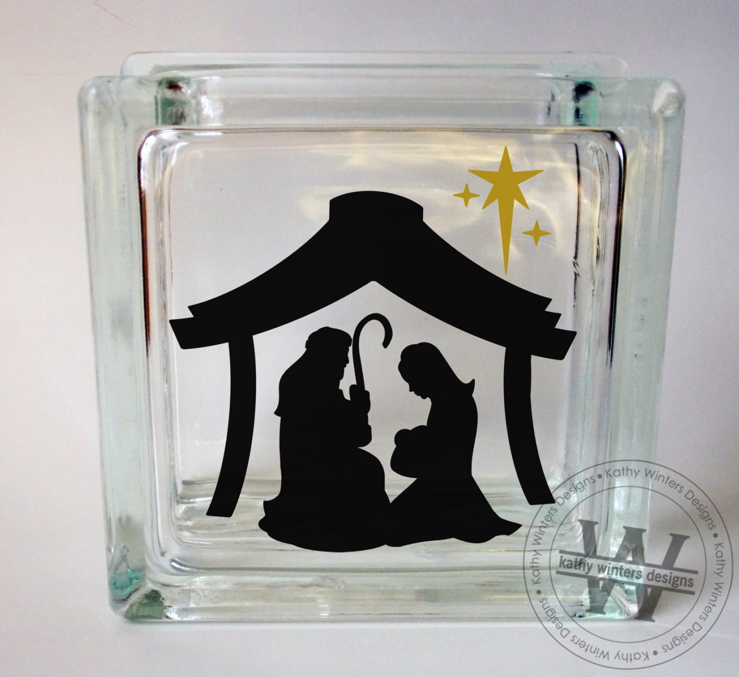 Vinyl Lettering Glass Block Decal Nativity By Kwintersdesigns