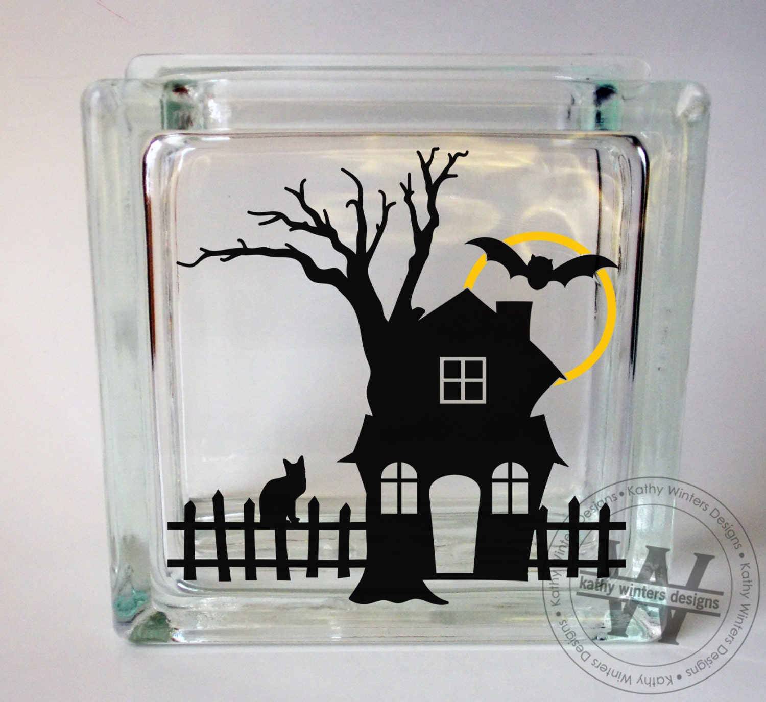 vinyl lettering for glass vinyl lettering glass block decal haunted house by 15847