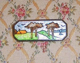 SUMMER SALE!  Lovely Vintage Art Deco Enamel Scenery Brooch Pin