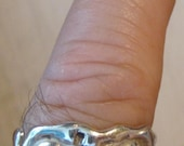 "Vintage Antique Size 12 Handmade Sterling Silver ""Wave"" Style Ring"