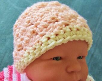 Newborn Crocheted Hat, Girl, Baby Beanie,  Peach, Hospital Hat, Acrylic