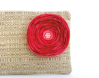 Rustic Clutch Purse / Hot Pink Satin Flower - READY TO SHIP