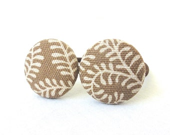 Fabric Covered Button Ponytail Holders - Tan Ferns - Set of 2 - READY TO SHIP