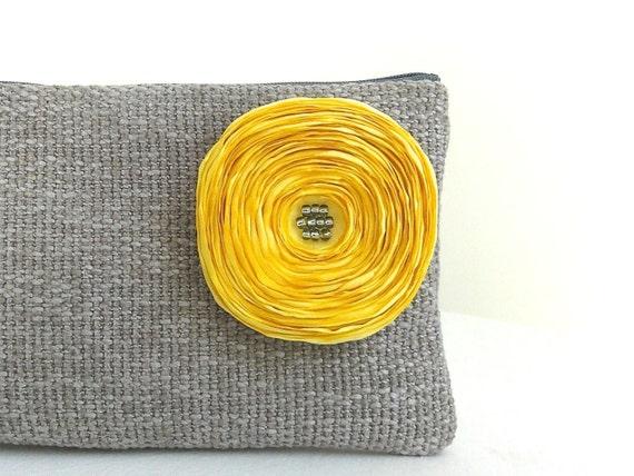 Dove Grey Clutch / Handmade Yellow Satin Flower - READY TO SHIP