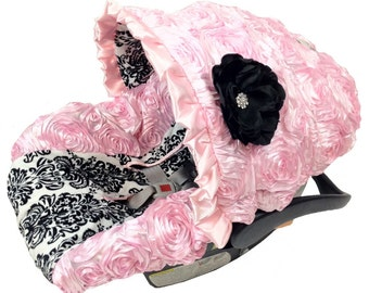 Damask Infant Car Seat Cover Baby Pink, Baby Car Seat Cover with matching strap set, Pink Roses Infant Car Seat Cover, Baby Car Seat Covers