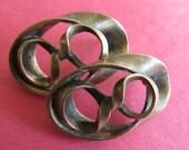 vintage brutalist earrings brass don-lin twist post / pierced ovals