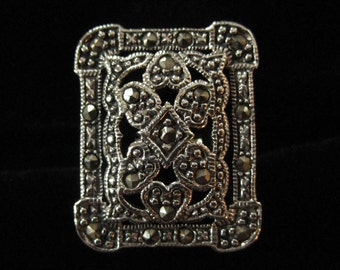 Sterling Marcasite Ring, Large Rectangle, Size 7