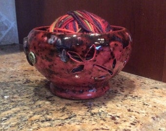 Ceramic clay yarn bowl for knitting and crocheting glazed in speckled brown with buttons