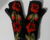 """Fingerless Gloves """"Poppies""""  Mittens Pure Merino Wool Hand Felted Arm and Hand Warmers"""
