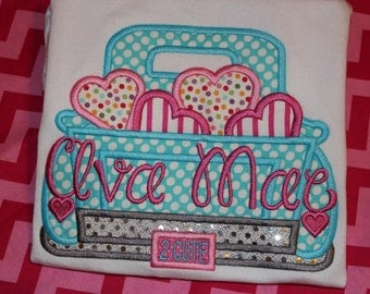 Valentine truck with hearts- baby bodysuit, tshirt, or ruffle dress- boy or girl