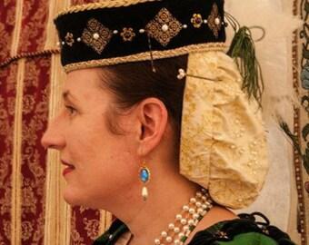 Renaissance, Tudor, Elizabethan, Brimless, Pillbox, Toque, Hat - MADE TO ORDER
