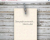 ON SALE 40% off Some people care too much  - 4x5.5 folded greeting card - Winnie the Pooh, Mothers Day, Wedding