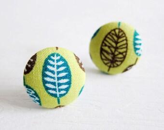 Fabric Button Earrings / Clip On Earrings - green leaves earrings