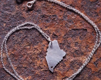 Recycled Sterling Silver state of Maine Necklace