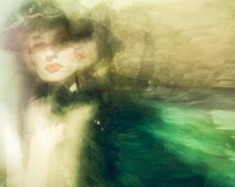Paris Photography / emerald blue wall print / feminine home decor / Paris art print / double exposure / dream / red lipstick / ghost woman