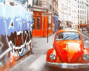 Paris Print, Montmartre wall art, Vintage car decor, art for walls, color photography, Paris decor, fine art, paris street art