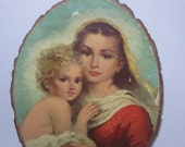 Vintage Madonna and Child Souvenir Wood Wall Hanging