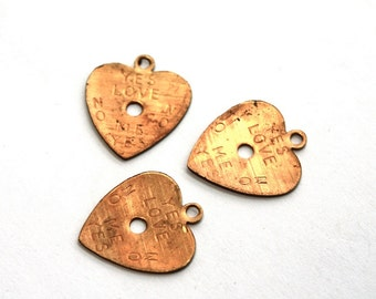 3 Brass 1950s Vintage Heart Stamping // 50s 60s  Heart Finding  // NOS Jewelry Craft Supply // Sweetheart // Do you love me?
