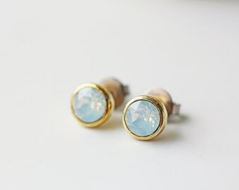 Small White Opal Swarovski Crystal Titanium Gold Stud Earrings Opalescent Simple Dainty