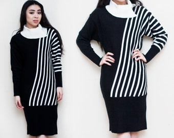 1990s Black & White Cowl Neck Sweater Dress S M
