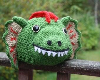 Dilophosaurus Hat, Dinosaur Hat, Crochet Beanie, Dinosaur Costume, Winter Hat, Green Dinosaur, Animal Hat, Halloween Costume, Geekery,