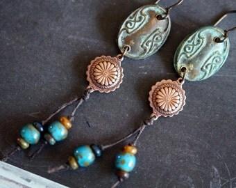 Aged Medallion Earrings - Beaded Earrings - Long Indie Earrings - Bead Soup Jewelry