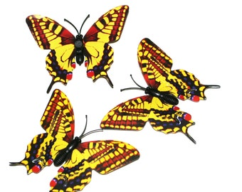 3 Red and Yellow Butterflies for Hair Pins, Favors, Hair Clips, Decor