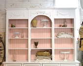 Painted Cottage Shabby White Farmhouse China Cabinet/ Bookcase CC621