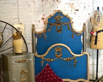 French Bed Painted Cottage Marie Antoinette Romantic Deluxe French Bed Twin/ Double Full