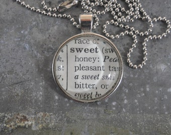 Dictionary Word Necklace -sweet