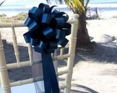 10 Navy Blue Pew Pull Bows Tulle Wedding Decorations Church Aisle