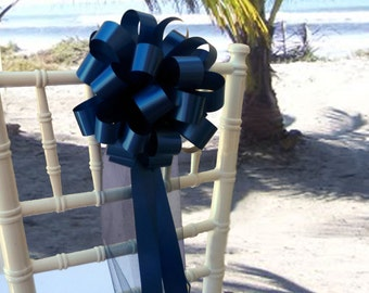 10 Navy Blue Pew Pull Bows With Tulle Church Beach Wedding Decorations Chair Hangers
