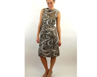 1960s dress, brown white, paisley dress, shift dress, Royal Lynne, Size 10