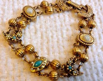 Vintage gold slide style charm BRACELET.