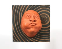 """Wall Sculpture, Theatre Mask, Funny Gifts, Masque, Unique Wall Art, Cement Face """"Burst"""" with End-Grain Board, Made in Portland, Humorous Art"""