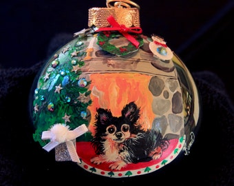 Hand Painted Ornament-Long Hair Chihuahua W/3D Effect-Item 769