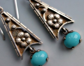 Vintage Silver and Turquoise Earrings European Poland