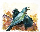 3 Ravens Giclee print of original watercolor