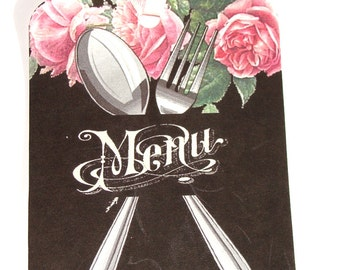 French Menu Tags -  Set of 4 -  Chalkboard Tags -  French Cafe Tags - Silverware Tags - Roses Tags - Gift Tags - Thank Yous -
