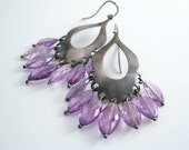 Amethyst Navette Sterling Silver Mughal Earrings