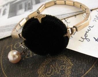 Noir Inspired Assemblage Button Bracelet -black, velvet, gold, rpurposed vintage