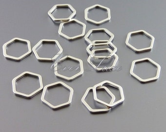 4 honeycomb / hexagonal 10mm metal charms for jewelry, jewelry making supplies, brass findings 937-MR-10 (matte silver, 10mm, 4 pieces)