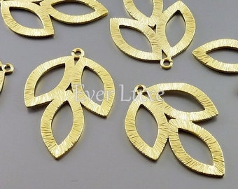 2 Matte gold marquise shaped leaf pendants / leaf jewelry charms, nature inspired jewelry making supplies 1162-MG (matte gold, 2 pieces)