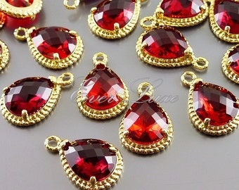 2 siam / bold red glass stone pendants with gold rope rim, bridal / wedding jewelry supplies 5054G-SI (bright gold, siam, 2 pieces)