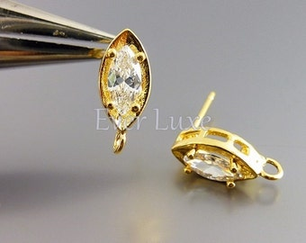 2 marquise CZ / Cubic Zirconia in prong setting stud earrings, crystals, bridal / wedding earrings jewelry 1021-BG (bright gold, 2 pieces)