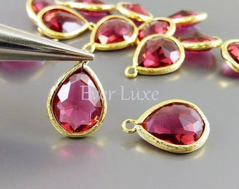 2 charming gold bezel pendants with ruby red glass stones / charms for jewellery designs supplies 5073G-RU (bright gold, ruby, 2 pieces)