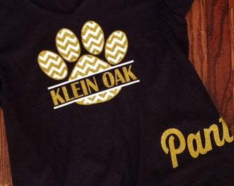 Chevron glitter paw print shirt