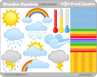 Weather Symbols -  Digital Clip Art - Personal and Commercial Use - weather forecast weatherman clouds sun rainbow thermometer lightning