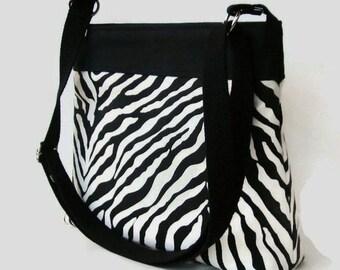 Black Zebra Print Canvas Fabric Messenger Bag - Black Crossbody Bag - Zebra Print Shoulder Bag - Adjustable Strap - Made to Order